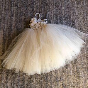 Other - Tulle tutu, one shoulder Flower girl dress, Ivory
